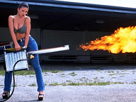 Topless Woman with Flame Thrower